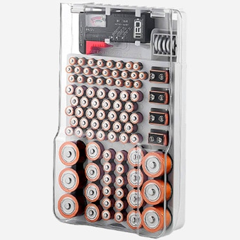 The Battery Organizer Storage Case with 93 Batteries and Removable Battery Tester